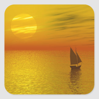 a sailing boat square sticker