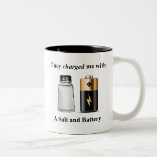 A Salt and Battery Assault and Battery Two-Tone Coffee Mug