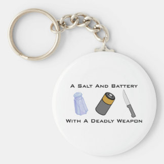 A Salt And Battery With A Deadly Weapon Basic Round Button Key Ring