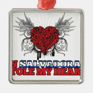 A Salvadoran Stole my Heart Christmas Ornament