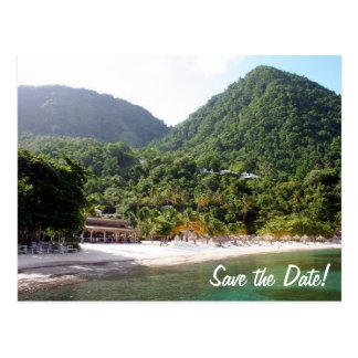 A sandy beach on the island of Saint Lucia Postcard