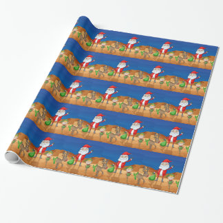 a santa claus and a reindeer wrapping paper