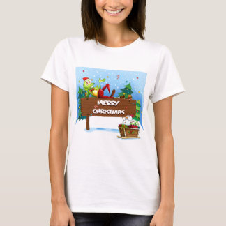 A Santa frog above the christmas signboard T-Shirt