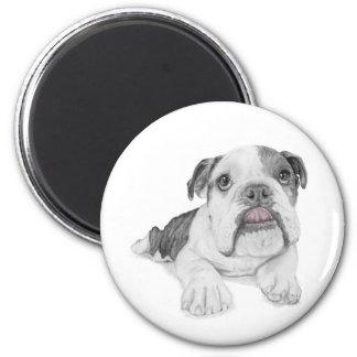 A Sassy Bulldog Puppy 6 Cm Round Magnet