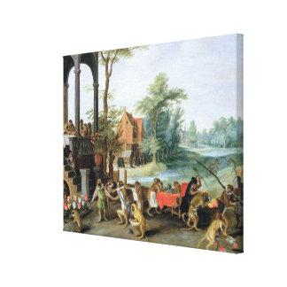 A Satire of the Folly of Tulip Mania Stretched Canvas Print