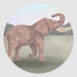 A savannah elephant classic round sticker