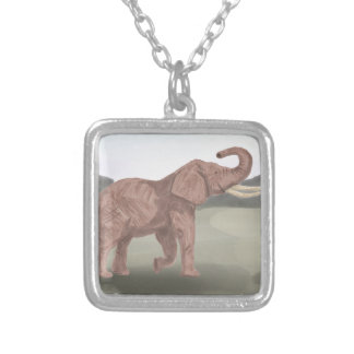 A savannah elephant silver plated necklace