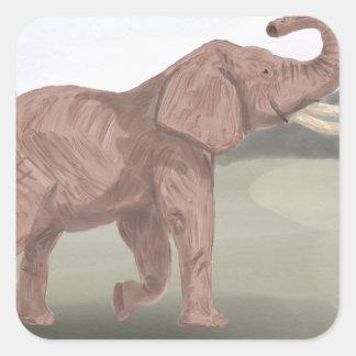 A savannah elephant square sticker