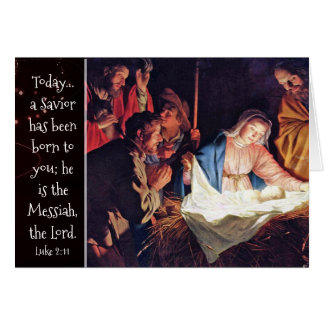 A Savior has been Born, Custom Christmas Nativity Card