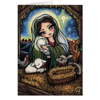 A Savior is Born Virgin Mary Nativity Christmas Card