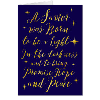 A Savior was Born to be a Light Hope and Peace Card