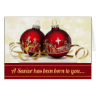 A Saviour Has Been Born Christmas Ornament Card
