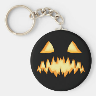 A Scary Jack O Lantern In The Dark Basic Round Button Key Ring