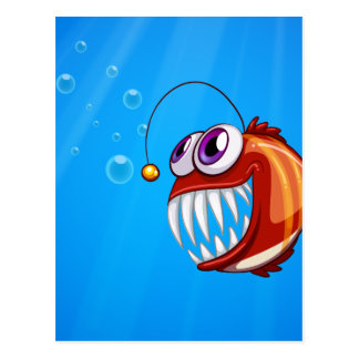 A scary piranha under the sea postcard