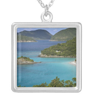 A scenic of Caneel Bay from a road at St. John Square Pendant Necklace