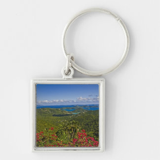 A scenic of Cruse Bay, St. John U.S Virgin Silver-Colored Square Key Ring
