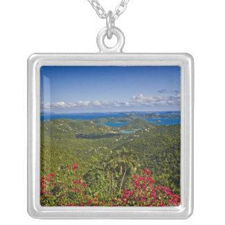 A scenic of Cruse Bay, St. John U.S Virgin Square Pendant Necklace