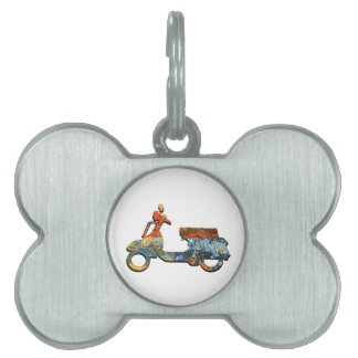 A SCOOTING ALONG PET NAME TAG