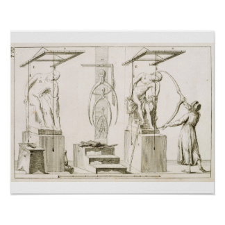 A Sculptor's Studio, c.1800 (engraving) Poster