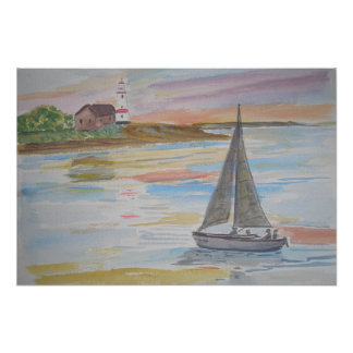 A seascape with lighthouse and boat in the evening poster