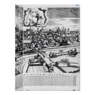 A Section of a Map of Milan, 1640 Poster