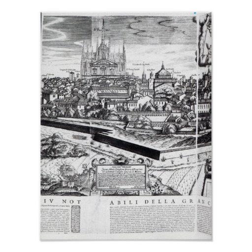 A Section of a Map of Milan, 1640 Print