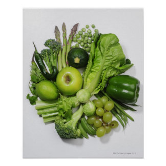 A selection of green fruits & vegetables. poster