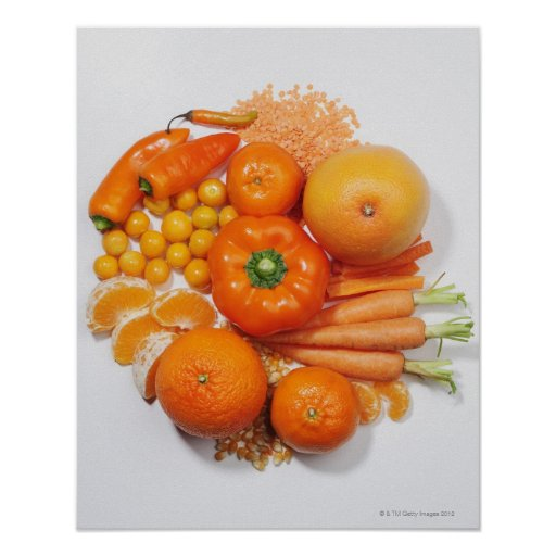 A selection of orange fruits & vegetables. print