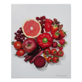 A selection of red fruits & vegetables. poster