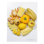 A selection of yellow fruits & vegetables. postcard