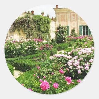 A Serene Formal Rose Garden Classic Round Sticker
