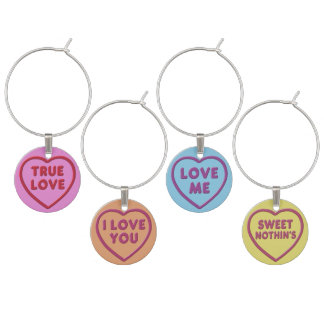 A Set of Four Sweethearts Wine Charms
