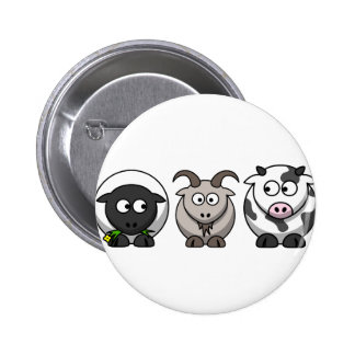 A Sheep, A Goat and a Cow 6 Cm Round Badge