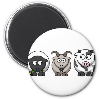 A Sheep, A Goat and a Cow 6 Cm Round Magnet