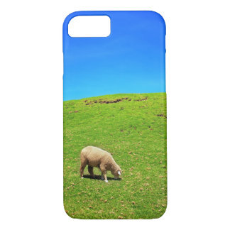 A Sheep on Green Pasture under a Deep Blue Sky iPhone 7 Case