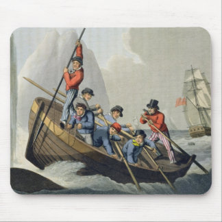 A Ship's Boat Attacking a Whale, engraved by Matth Mouse Pad