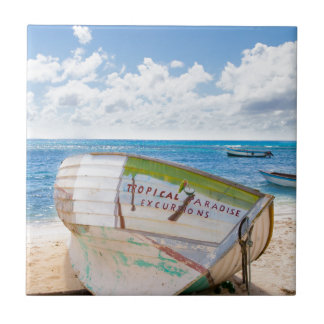 A shipwreck on the beach in the Caribbean Tile
