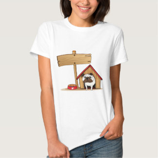 A signboard beside a doghouse with a dog tshirts