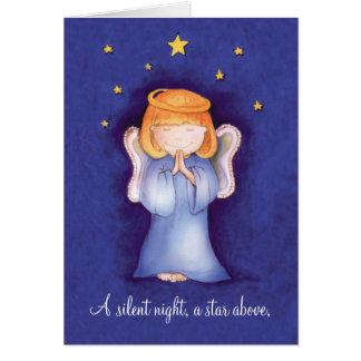 A silent night christmas angel greeting card blue