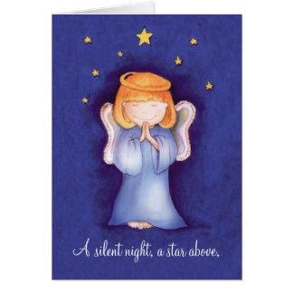 A silent night christmas angel greeting card blue