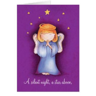 A silent night christmas angel greeting card mauve