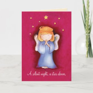 A silent night christmas angel greeting card red card