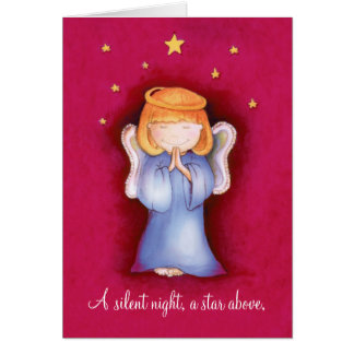 A silent night christmas angel greeting card red