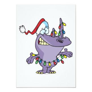 a silly cute christmas santa rhino 13 cm x 18 cm invitation card