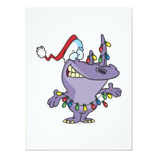 a silly cute christmas santa rhino 17 cm x 22 cm invitation card