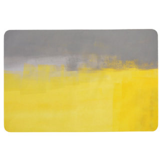 'A Simple Abstract' Grey and Yellow Art Floor Mat