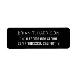 a simple black return address label