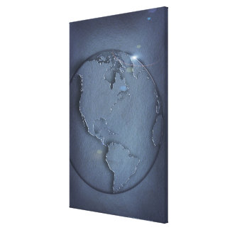 A simple blue global map of the earth showing stretched canvas print