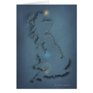 A simple map of the British Isles with sunset Card