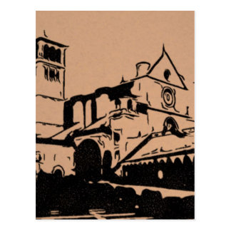 A Simple Sketch of St. Francis Basilica, Assisi Postcard